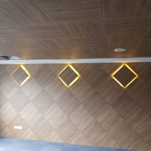 Wooden panel and led lighting by Acoustima and seatupturkey